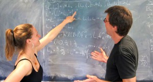 Margot Robertson '12 explains angular momentum to Prof. Dave Tucker-Smith