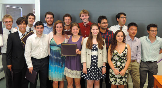 Class of 2013 Physics and Astronomy graduates at the graduation breakfast.
